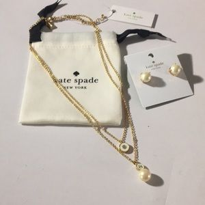 Kate spade necklace & earrings set cream